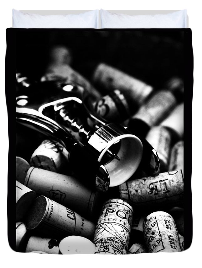 Corks Duvet Cover featuring the photograph Uncorked by Romina Ludovico-Pfosi