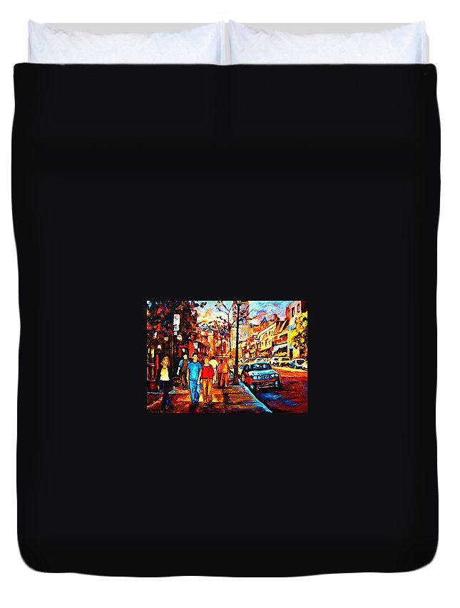 Montrealstreetscene Duvet Cover featuring the painting Under A Crescent Moon by Carole Spandau