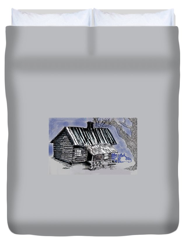 Cabin Duvet Cover featuring the drawing Under a Tin Roof by Seth Weaver