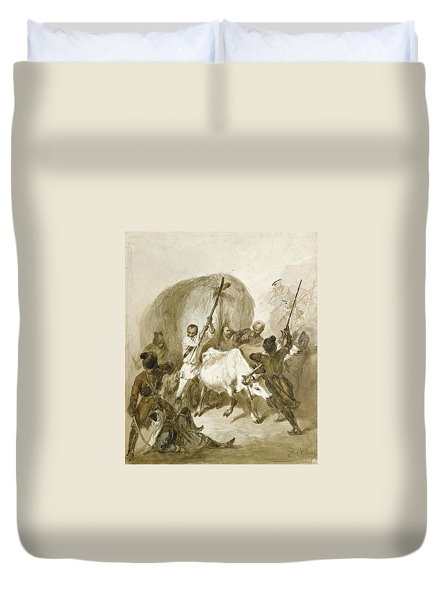 Mihaly Zichy Duvet Cover featuring the photograph Under Attack by Mihaly Zichy
