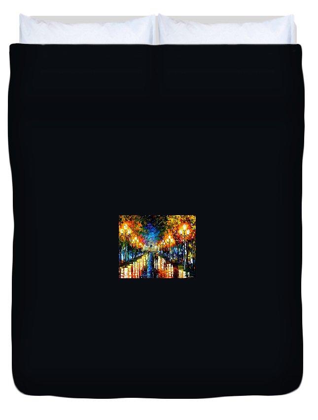 Afremov Duvet Cover featuring the painting Under Brown Umbrella by Leonid Afremov