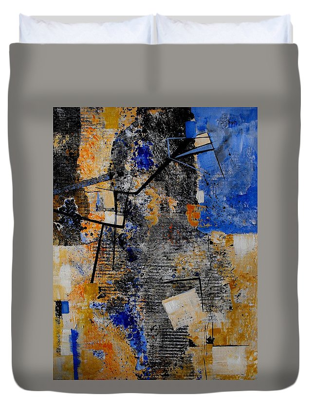 Abstract Duvet Cover featuring the painting Under Construction by Ruth Palmer