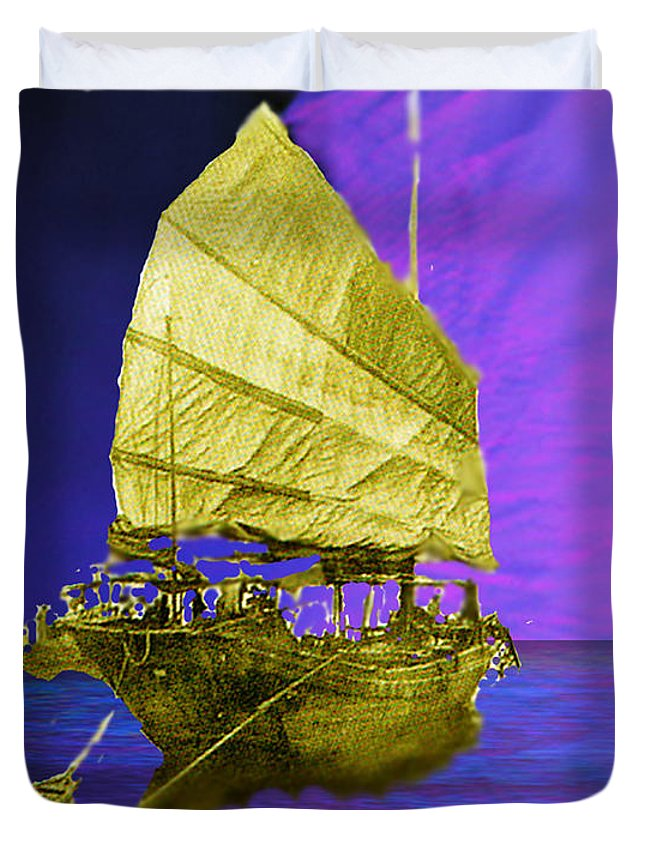 Nautical Duvet Cover featuring the digital art Under Golden Sails by Seth Weaver