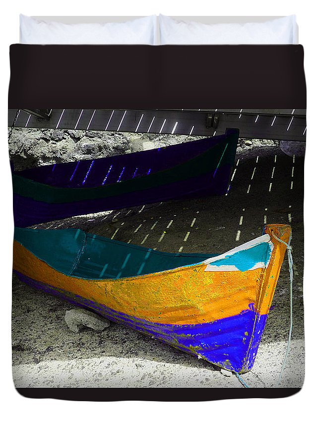 Boat Duvet Cover featuring the photograph Under The Boardwalk 2 by Charles Stuart