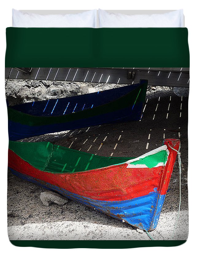 Boat Duvet Cover featuring the photograph Under The Boardwalk by Charles Stuart