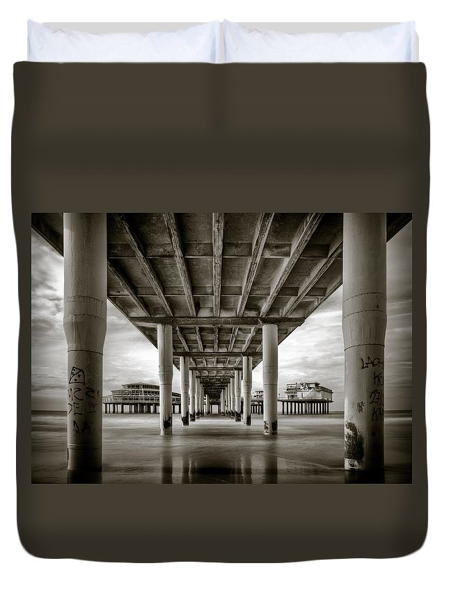 Pier Duvet Cover featuring the photograph Under The Boardwalk by Dave Bowman