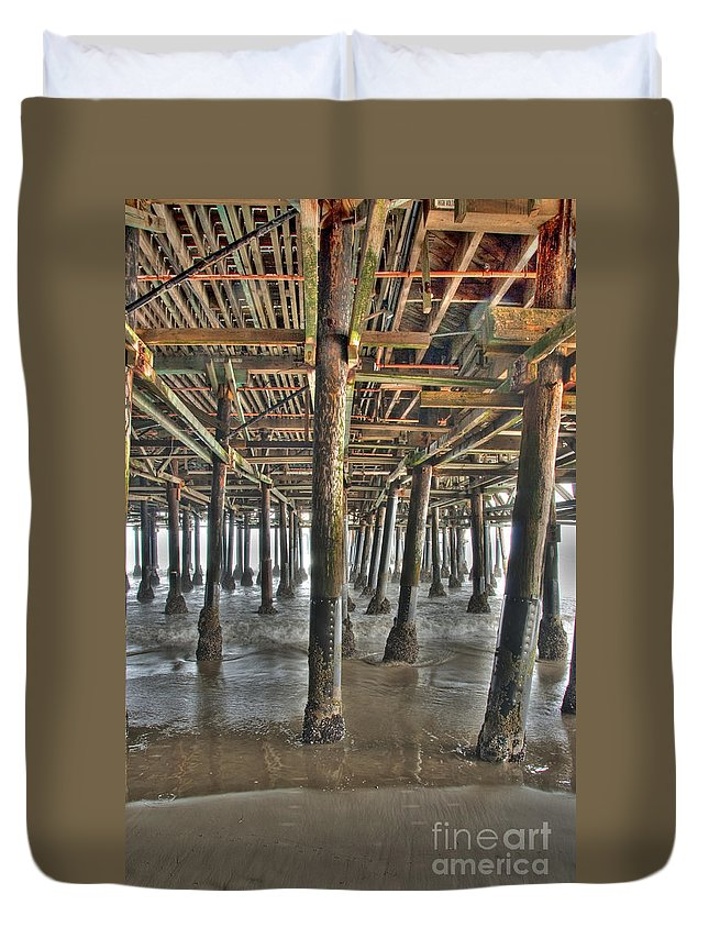 Under The Boardwalk Duvet Cover featuring the photograph Under The Boardwalk Pier Sunbeams by David Zanzinger