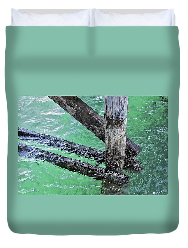 Water Duvet Cover featuring the photograph Under The Boardwalk by Stephen Mitchell