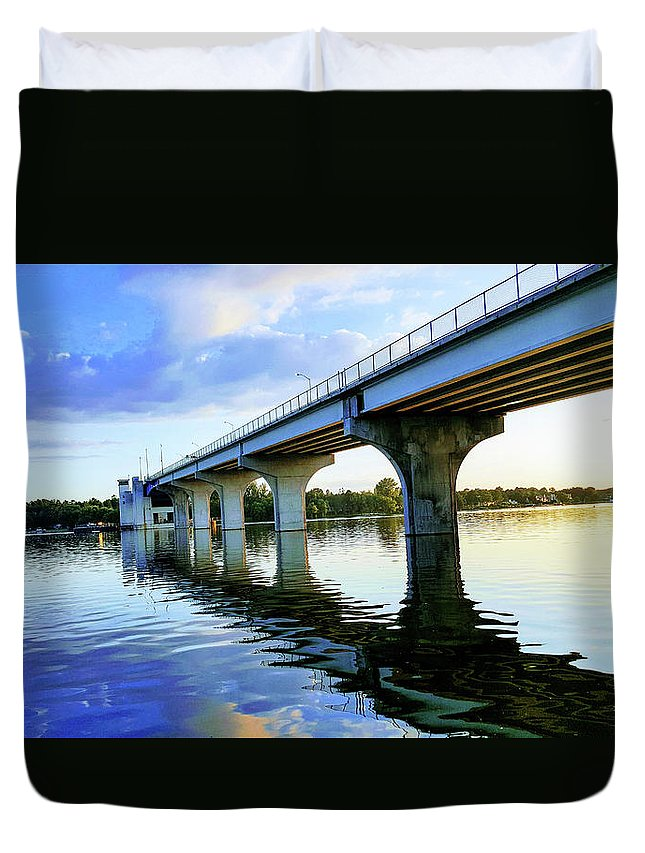 Bridge Duvet Cover featuring the photograph Under The Bridge by Alex Sowinski