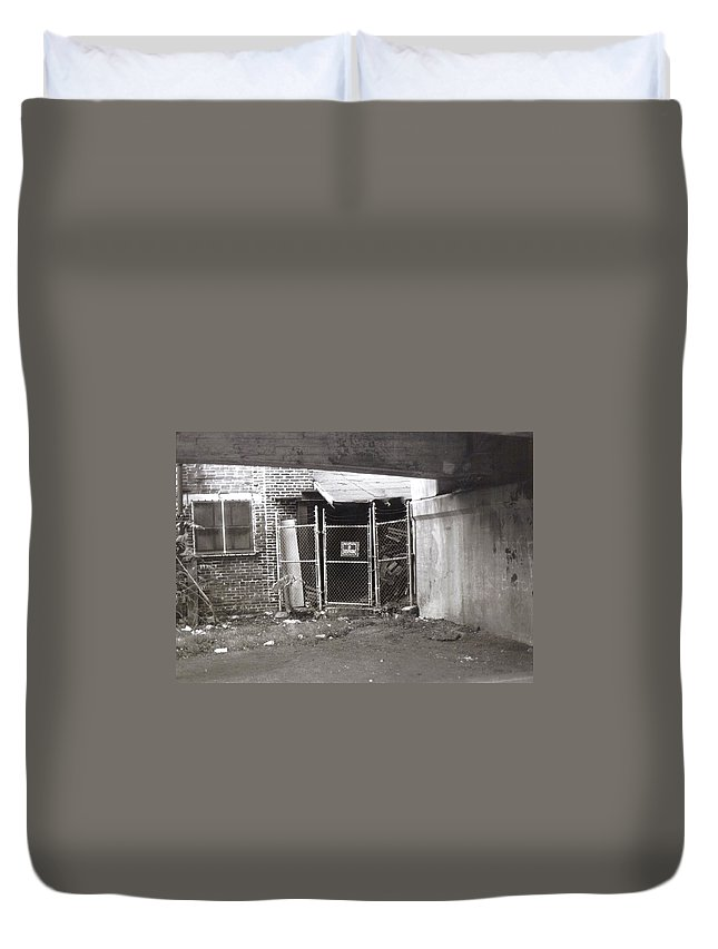 Black And White Photograph Duvet Cover featuring the photograph Under The Bridge by Thomas Valentine