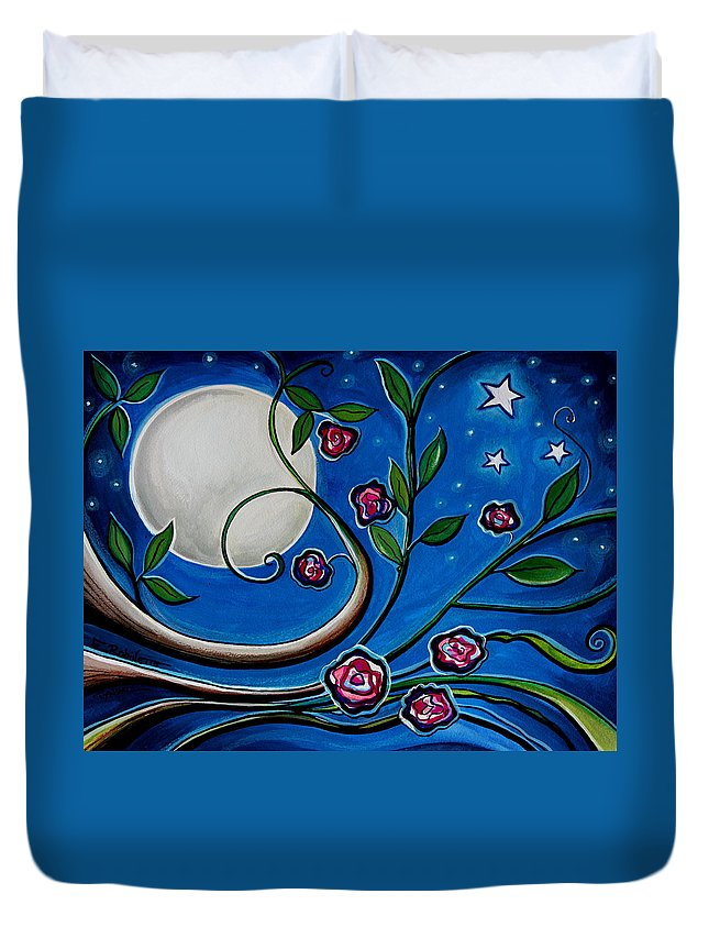 Flowers Duvet Cover featuring the painting Under The Glowing Moon by Elizabeth Robinette Tyndall