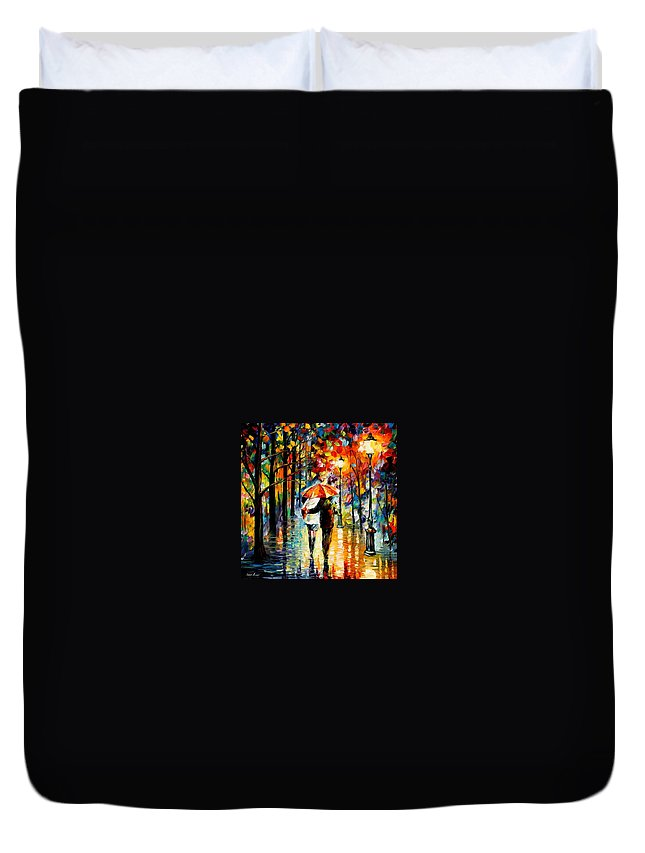 Afremov Duvet Cover featuring the painting Under The Red Umbrella by Leonid Afremov