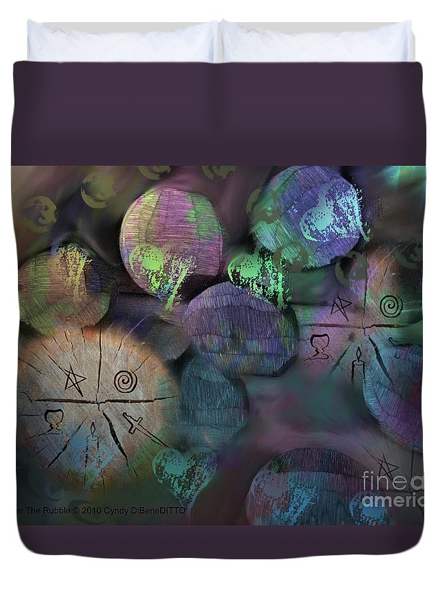 Fantasy Duvet Cover featuring the digital art Under The Rubble by Cyndy DiBeneDitto