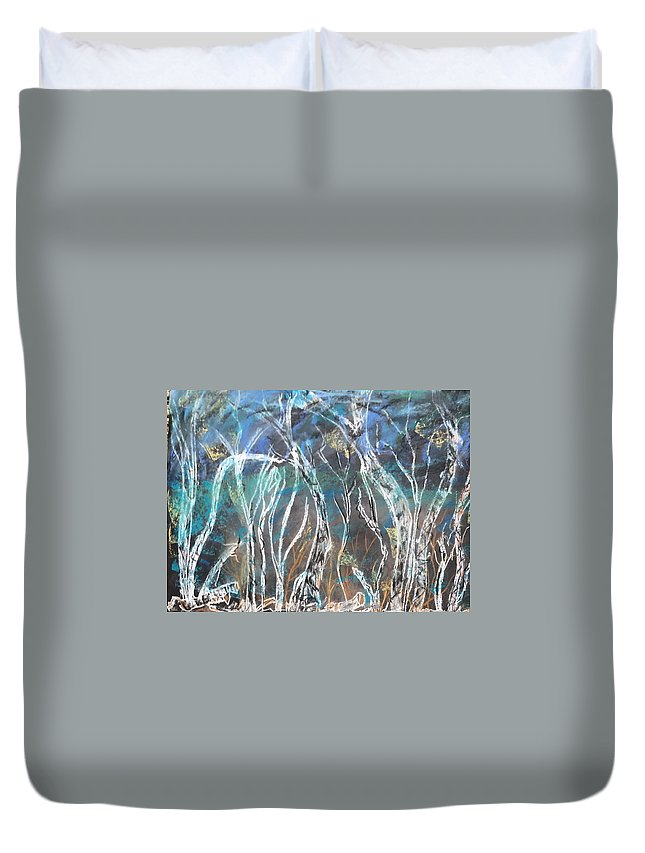 Sea Duvet Cover featuring the mixed media Under The Sea by Diane Sykeny