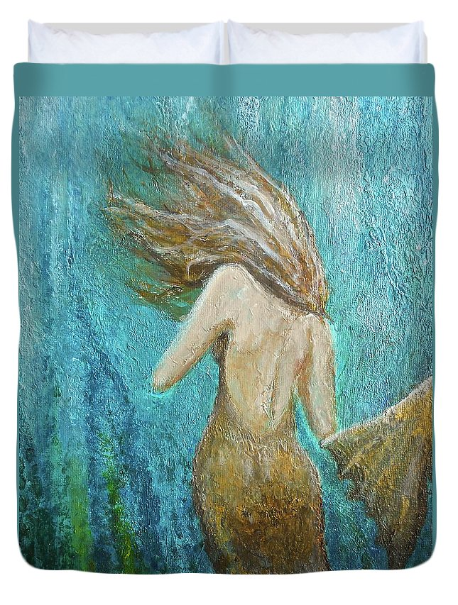 Mermaid Duvet Cover featuring the painting Under The Sea by Nancy Quiaoit