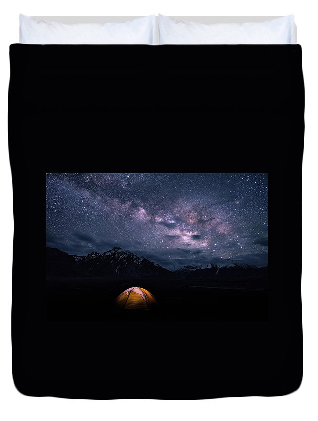 Landscape Duvet Cover featuring the photograph Under The Stars by Siddhartha De
