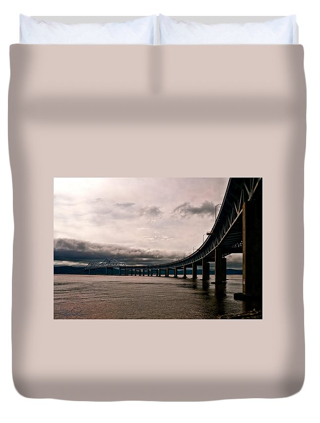 New York Duvet Cover featuring the photograph Under The Tappan Zee by S Paul Sahm