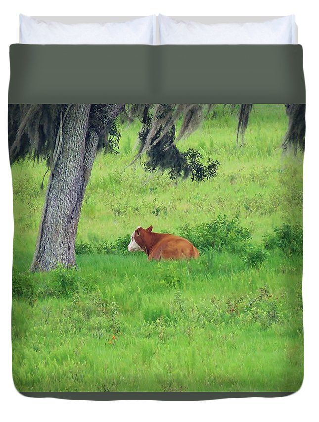 Duvet Cover featuring the photograph Under The Tree by Mario Carta