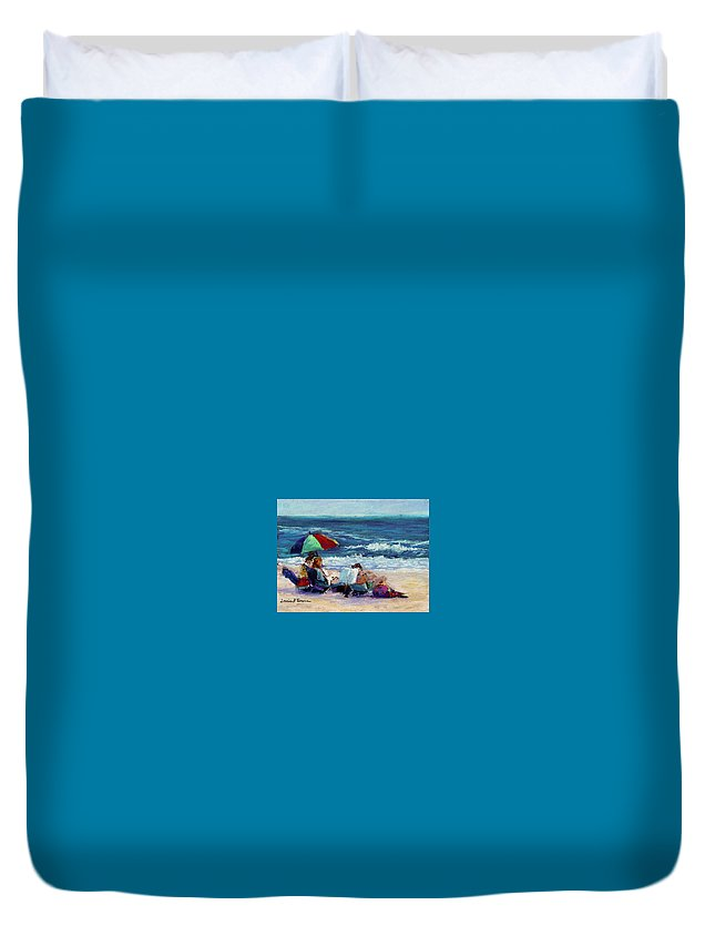 Beach Duvet Cover featuring the painting Under The Umbrella by Lorrie Turner