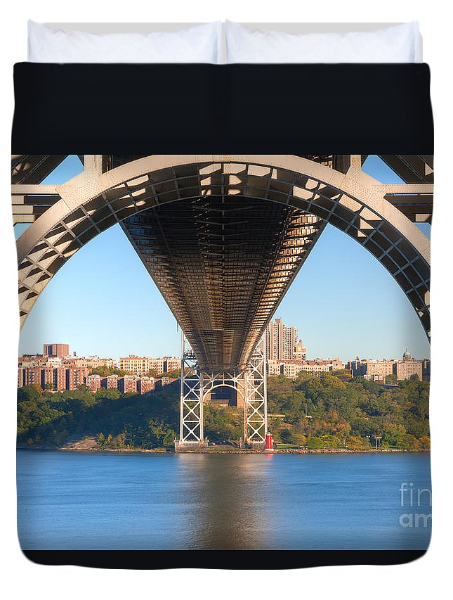 Clarence Holmes Duvet Cover featuring the photograph Underneath The George Washington Bridge I by Clarence Holmes