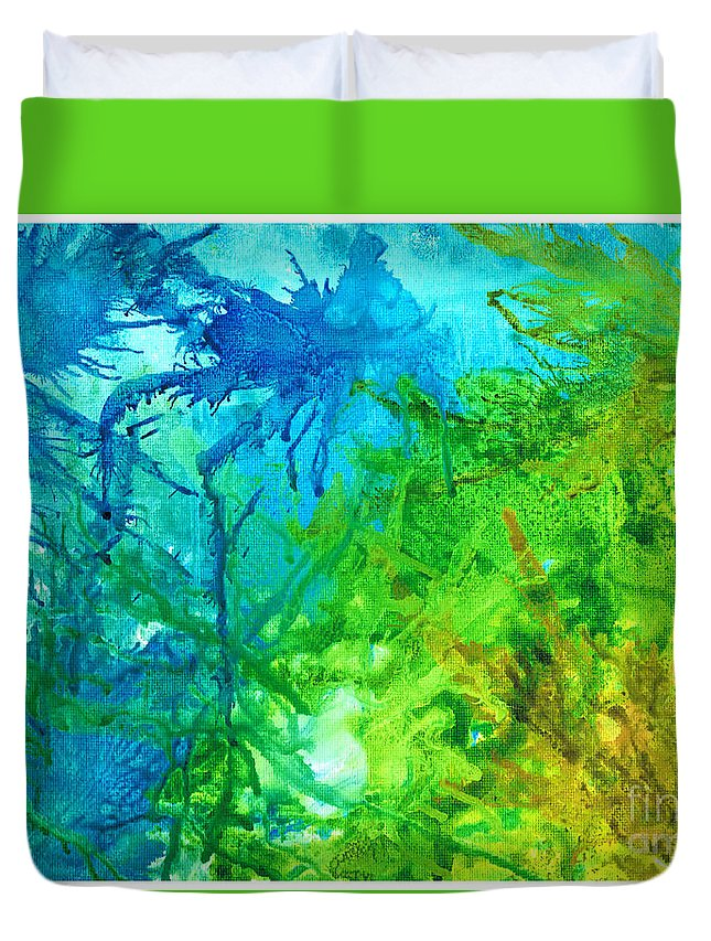 Alcoholink Duvet Cover featuring the painting Undersea Corals by Cathlyn Driscoll