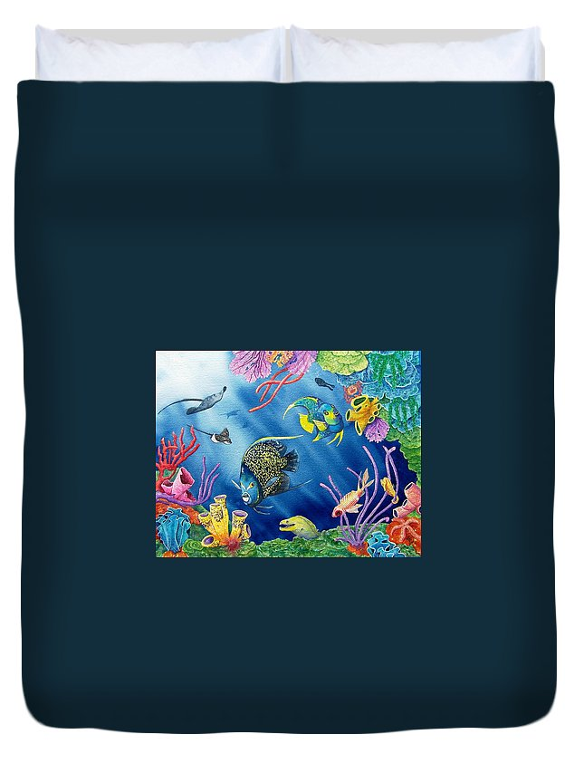Undersea Duvet Cover featuring the painting Undersea Garden by Gale Cochran-Smith