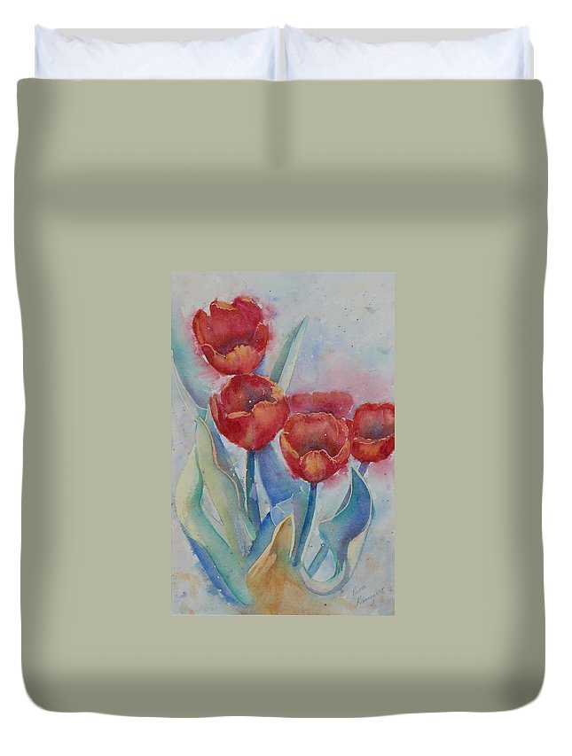 Flowers Duvet Cover featuring the painting Undersea Tulips by Ruth Kamenev