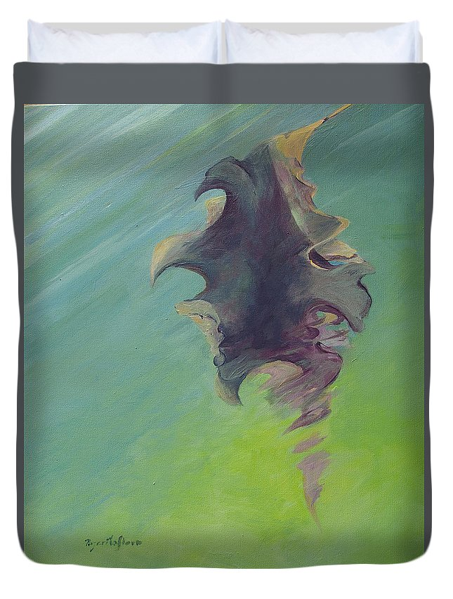 Kelp Duvet Cover featuring the painting Underwater Glow by MaryAnn Ead