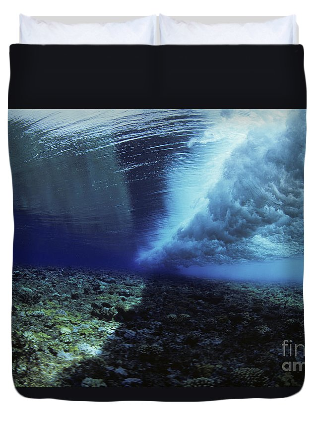 Amaze Duvet Cover featuring the photograph Underwater Wave - Yap by Dave Fleetham - Printscapes