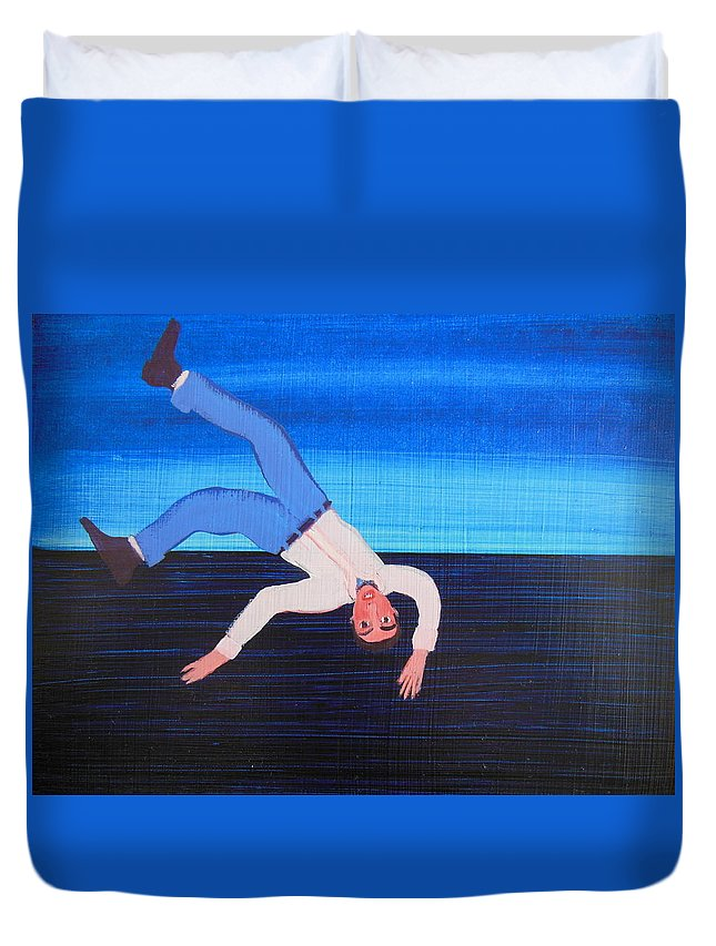 Humor Duvet Cover featuring the painting Unexpected Drop In by Bonita Barlow