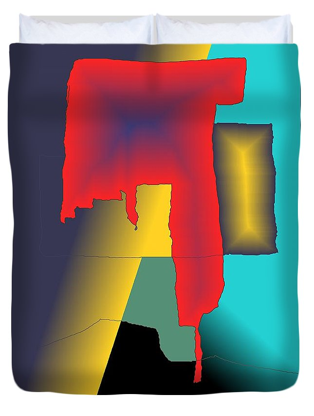 Red Duvet Cover featuring the digital art Unexpected- Red by Helmut Rottler