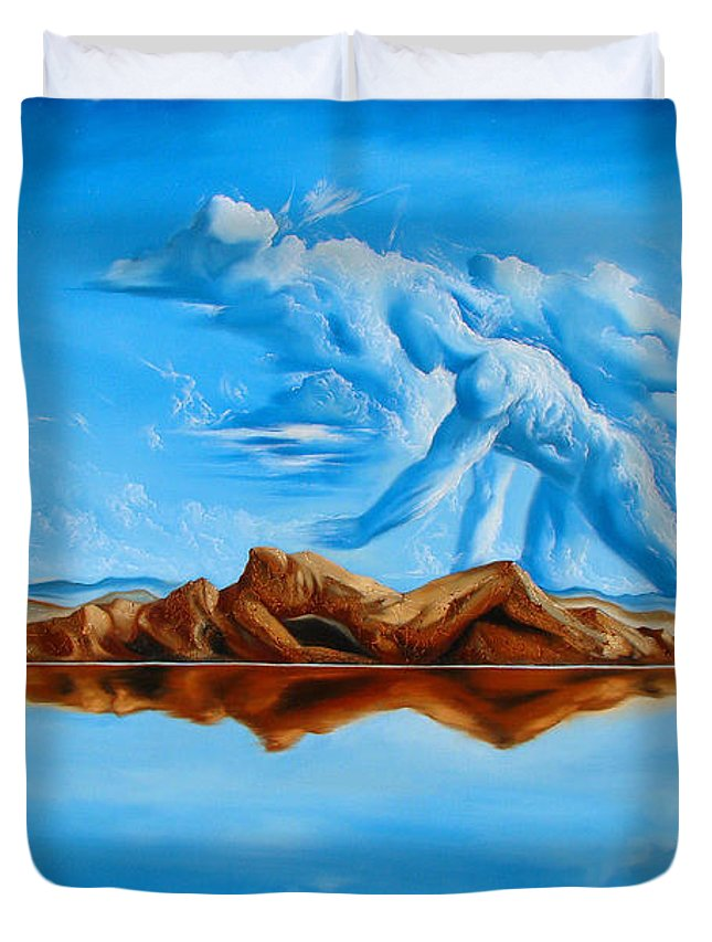 Surrealism Duvet Cover featuring the painting Unfinished Business by Darwin Leon