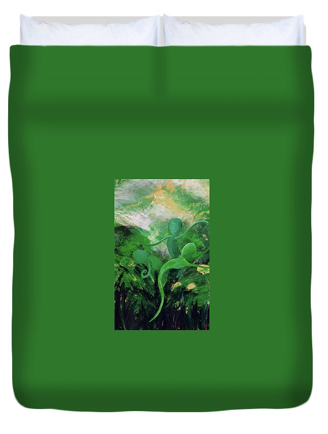 Unfurling Duvet Cover featuring the painting Unfurling Rainbow Soul Collection by Catt Kyriacou