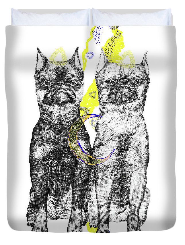 Dog Art Duvet Cover featuring the drawing Unhappy by Elizaveta Mikheeva