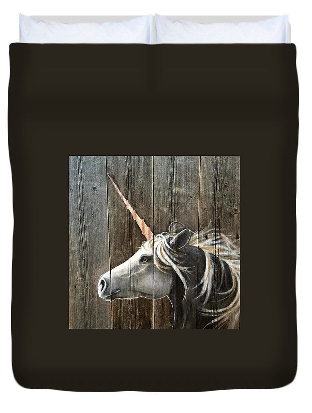 Unicorn Duvet Cover featuring the painting Unicorn by Alicia Doerksen