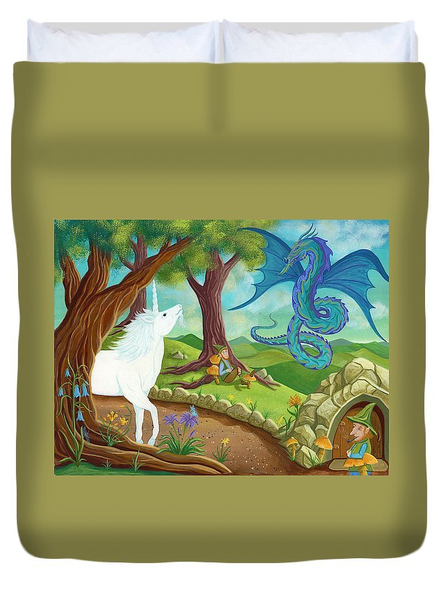 The Infinite Song By Andrea Freeman Duvet Cover featuring the painting Unicorn And Dragon And Fairies And Elves - Illustration #9 In The Infinite Song by Andrea Freeman