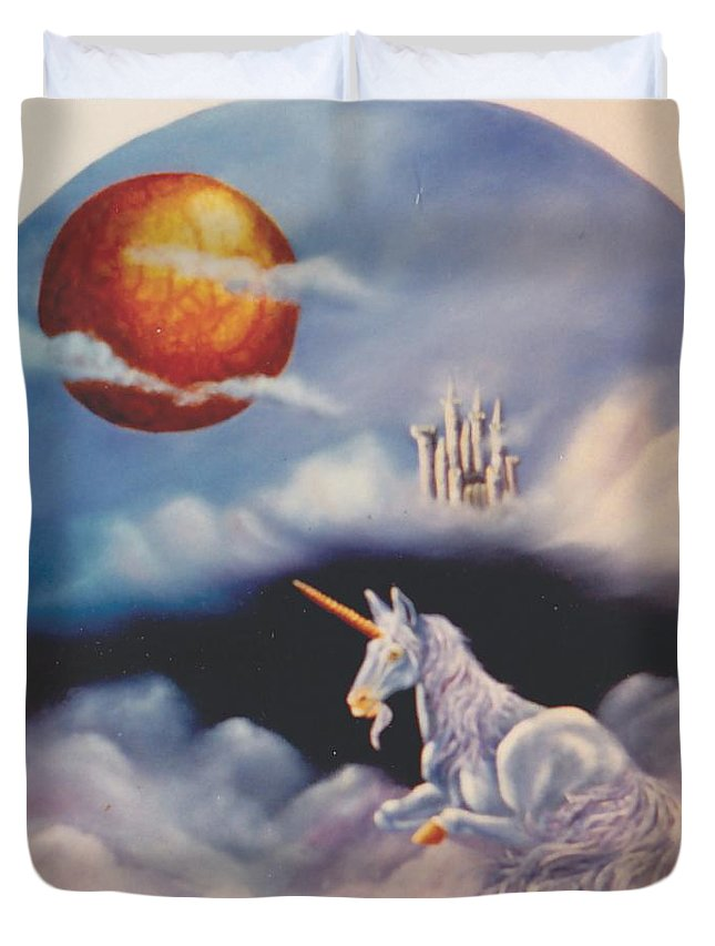 Unicorn Duvet Cover featuring the painting Unicorn In The Clouds by Lorraine Souza Wilcox