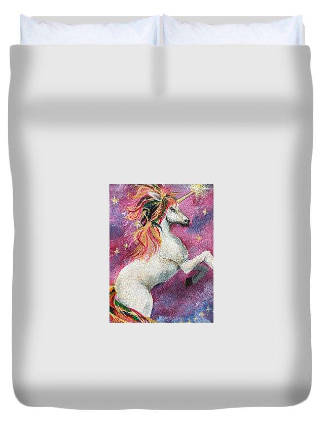 Unicorn Duvet Cover featuring the painting Unicorn Magic by Deborah Naves