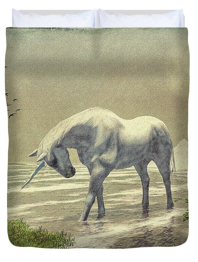 Unicorn Duvet Cover featuring the painting Unicorn Moon by Bob Orsillo