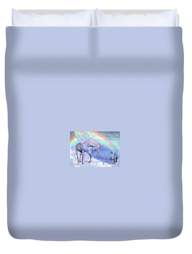 Unicorn Duvet Cover featuring the mixed media Unicorn Of The Rainbow Card by Carol Cavalaris