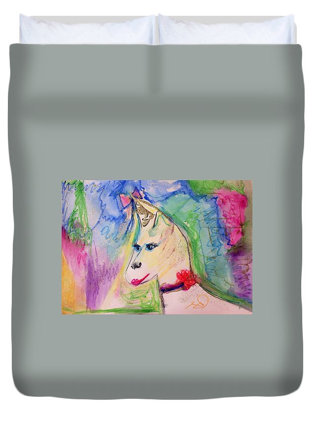 Wishes Duvet Cover featuring the painting Unicorn Wishes by Judith Desrosiers