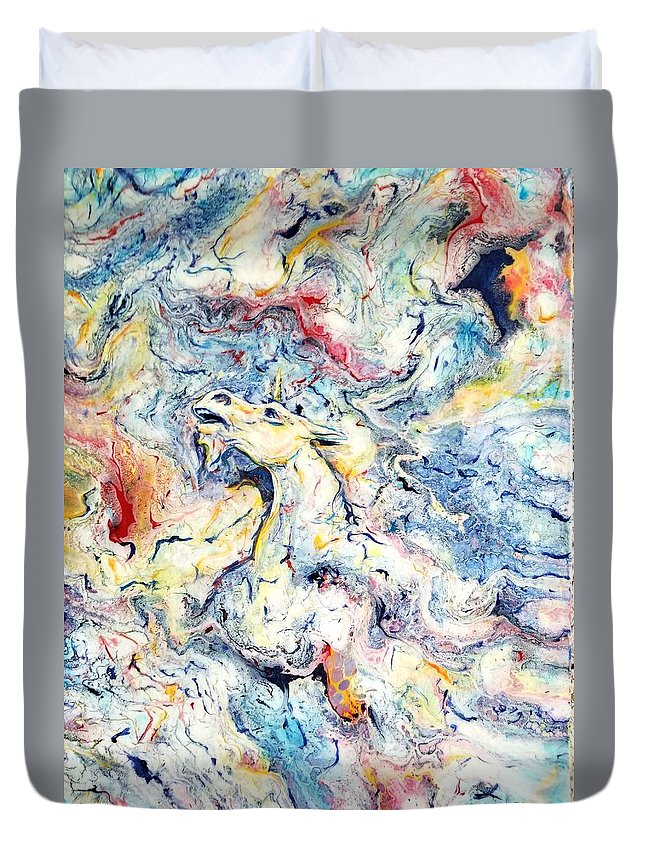Unicorn Rainbow Magic Sky Fantasy Abstract Duvet Cover featuring the painting Unicorns and Rainbows by Gail Butler