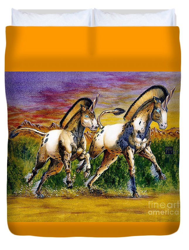 Artwork Duvet Cover featuring the painting Unicorns In Sunset by Melissa A Benson