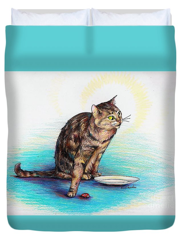 Cat Duvet Cover featuring the drawing Uninvited Dinner Guest by K M Pawelec