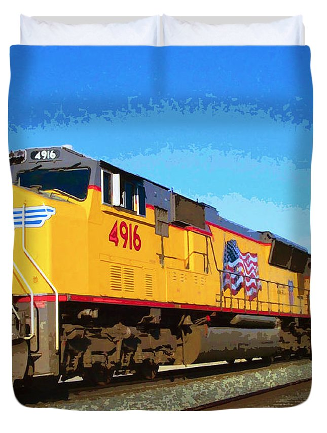 Union Pacific Duvet Cover featuring the mixed media Union Pacific by Dominic Piperata