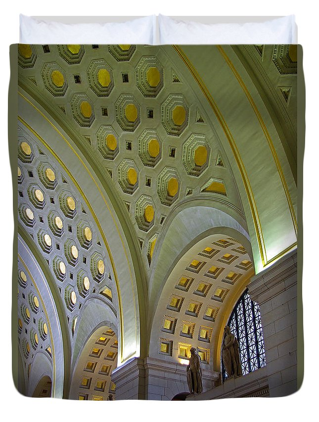 Washington Dc Duvet Cover featuring the photograph Union Station Ceiling by Rich Walter