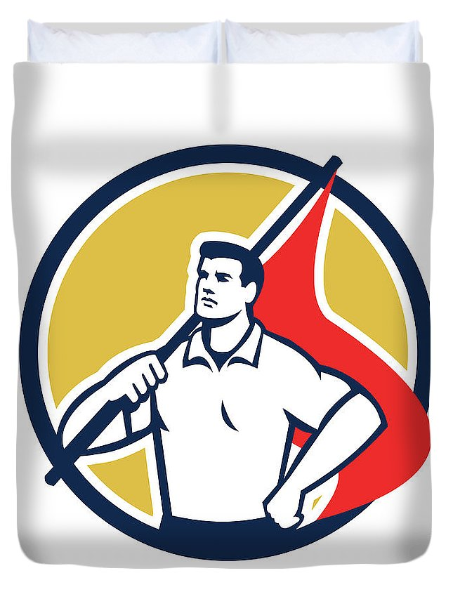 Worker Duvet Cover featuring the digital art Union Worker Holding Flag Circle Retro by Aloysius Patrimonio