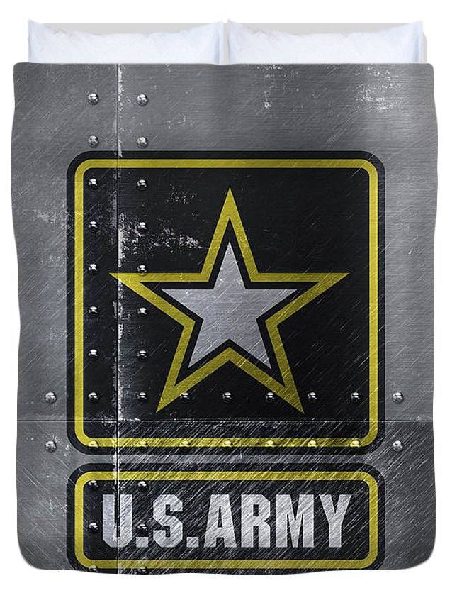 United States Duvet Cover featuring the mixed media United States Army Logo On Steel by Design Turnpike
