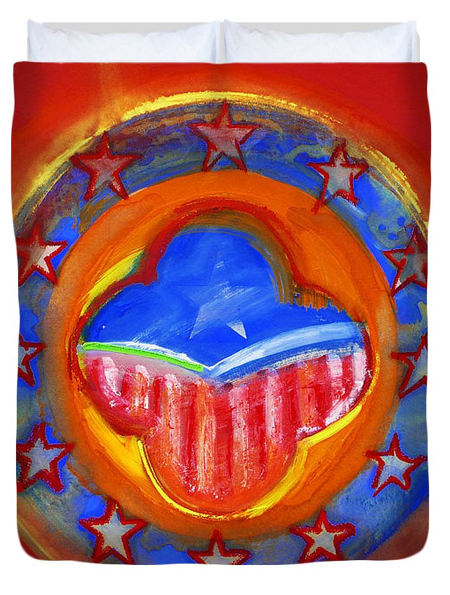Symbol Duvet Cover featuring the painting United States Of Europe by Charles Stuart