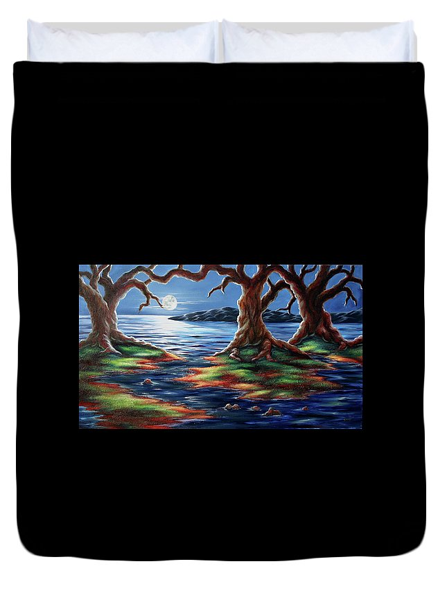 Textured Painting Duvet Cover featuring the painting United Trees by Jennifer McDuffie